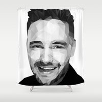 liam payne Shower Curtains featuring Liam Payne - One Direction by jrrrdan
