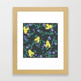 Yellow iris and periwinkle watercolour & ink pattern in black Framed Art Print
