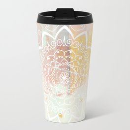 Namaste white mandala on pink Travel Mug