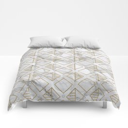 Marble and gold geometric Comforters