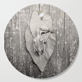 Baby Bird Sepia Nature Leaves Wood Cutting Board