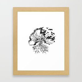 Hand designed Celtic pattern tree with knots and crows Framed Art Print