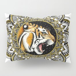 Black and Gold Roaring Tiger Mandala Pillow Sham