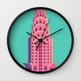 New York Art Deco Building Architecture - Green Wall Clock