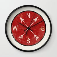 compass Wall Clocks featuring Compass by Duke Dastardly