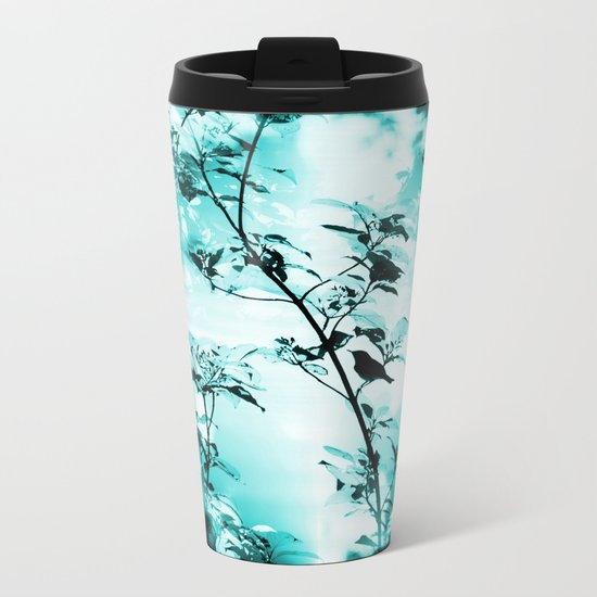 Silhouette of songbird on a branch in turquoise variation  Metal Travel Mug