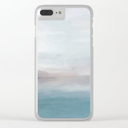 Light Gray, Mauve, Turquoise Aqua Blue Print Modern Wall Art, Abstract Painting Clear iPhone Case