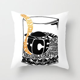 Old Fashioned Cocktail Recipe Letterpress/Linoleum cut design by BirdsFlyOver Throw Pillow