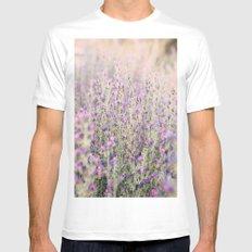 Purple flowers MEDIUM Mens Fitted Tee White