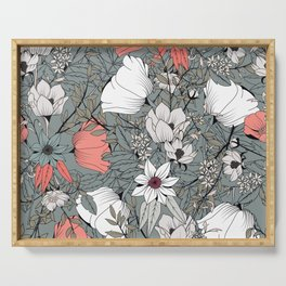 Seamless pattern design with hand drawn flowers and floral elements Serving Tray