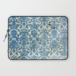 Vintage Antique Blue Wallpaper Pattern Laptop Sleeve