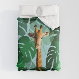 Giraffe in jungle with monstera leaves #leaves Comforters