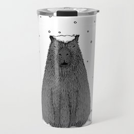 Capybara and Snow Travel Mug