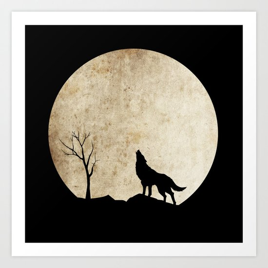 Wolf night Art Print