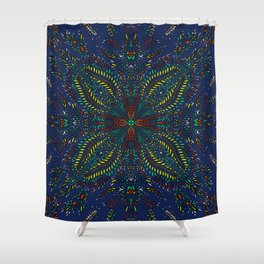 Mexican Chromatic Pattern Blue Shower Curtain