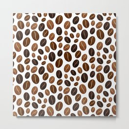 Coffee beans pattern Metal Print
