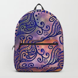 Abstract Blue Ocean Waves and Hearts on a Pink & Orange Ombré background Backpack