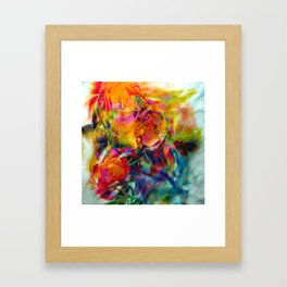 abstract about wine, flowers, party Framed Art Print