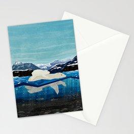 Polar bear mom and Cub Swimming  Stationery Cards