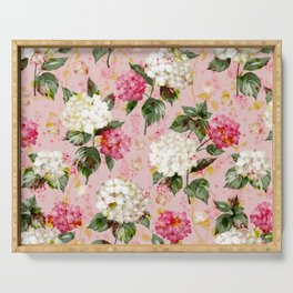 Vintage green pink white bohemian hortensia flowers Serving Tray