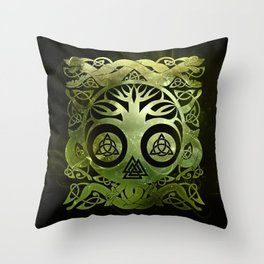 Tree of life - Yggdrasil  and celtic animals Throw Pillow