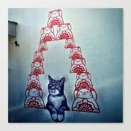 Love Me Like Your Fortune Cat Canvas Print