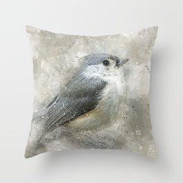 Tufted Titmouse Bird Throw Pillow