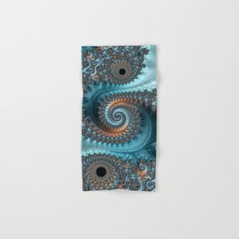 Feathery Flow - Teal and Taupe Fractal Art Hand & Bath Towel