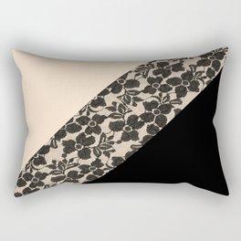 Elegant Peach Ivory Black Floral Lace Color Block Rectangular Pillow