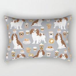 Cavalier King Charles Spaniel coffee lover custom pet portrait by pet friendly dog breeds Rectangular Pillow