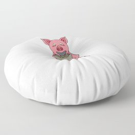 pig and bag with gold coins Floor Pillow