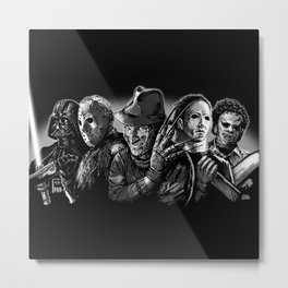 Freddy Krueger Jason Voorhees Michael Myers leatherface Darth Vader Blackest of the Black Metal Print