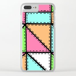 Marker Patchwork – Triangles and Rectangles – Pink Aqua Green Clear iPhone Case