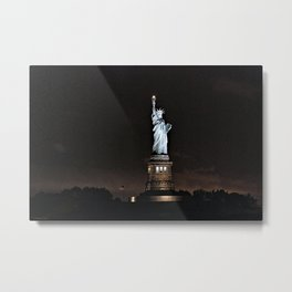 Nighttime Statue of Liberty and Flag Metal Print