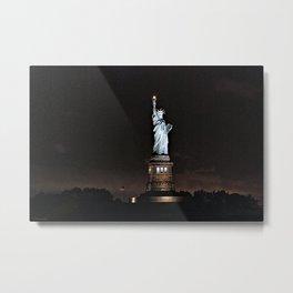 Nighttime Statue of Liberty and Flag Metal Print