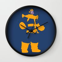 thanos Wall Clocks featuring The Overmaster (Thanos) by Timmy D. Matias