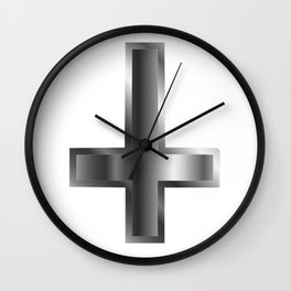 An inverted cross- The Cross of Saint Peter used as an anti-Christian and Satanist symbol Wall Clock