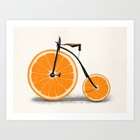 orange Art Prints featuring Vitamin by Florent Bodart / Speakerine