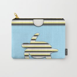Sea Tortoise Blue and Yellow Stripe Pattern Design Carry-All Pouch