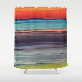 Rainbow Particle Wave Shower Curtain