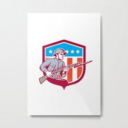 World War One Soldier American Retro Shield Metal Print