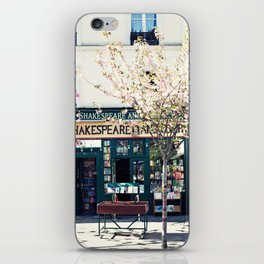 Cherry blossoms in Paris, Shakespeare & Co. iPhone Skin