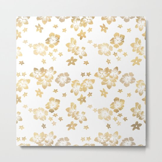 Gold Tropical Flowers Metal Print