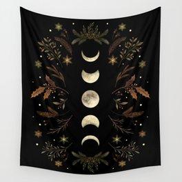 Moonlight Garden - Winter Brown Wall Tapestry