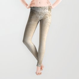Antique World Map White Gold Leggings