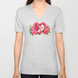 Watercolor fetus inside the womb Unisex V-Neck