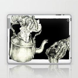 Geometric Black and White Drawing Tea Pot Time Laptop & iPad Skin