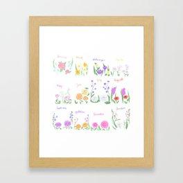 Birthday Month Flowers Framed Art Print