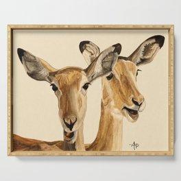 Impalas Watercolor Serving Tray