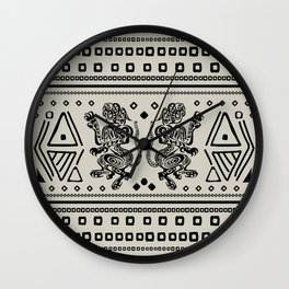 Aztec Jaguars and Ornaments - Black Wall Clock